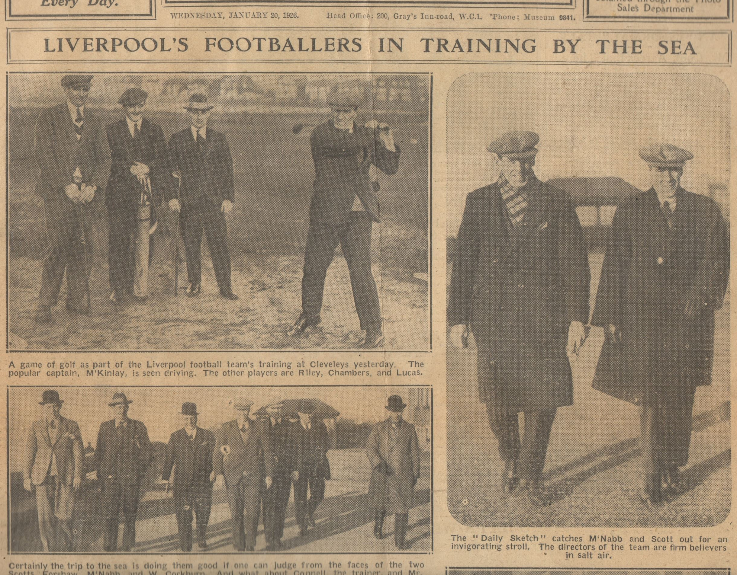Liverpool's footballers in training by the sea - 20 January 1926