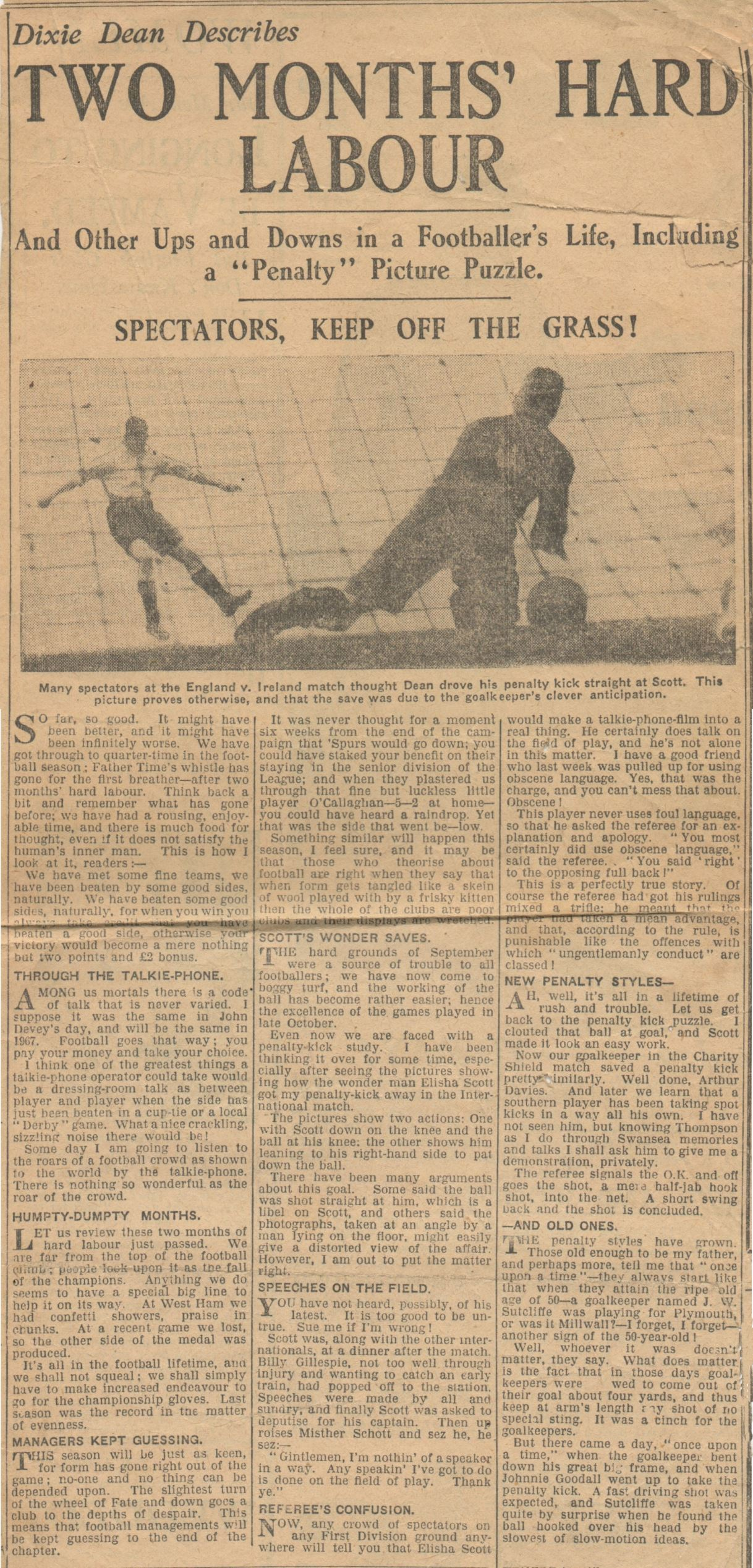 Two months' hard labour, by Dixie Dean - October 1928