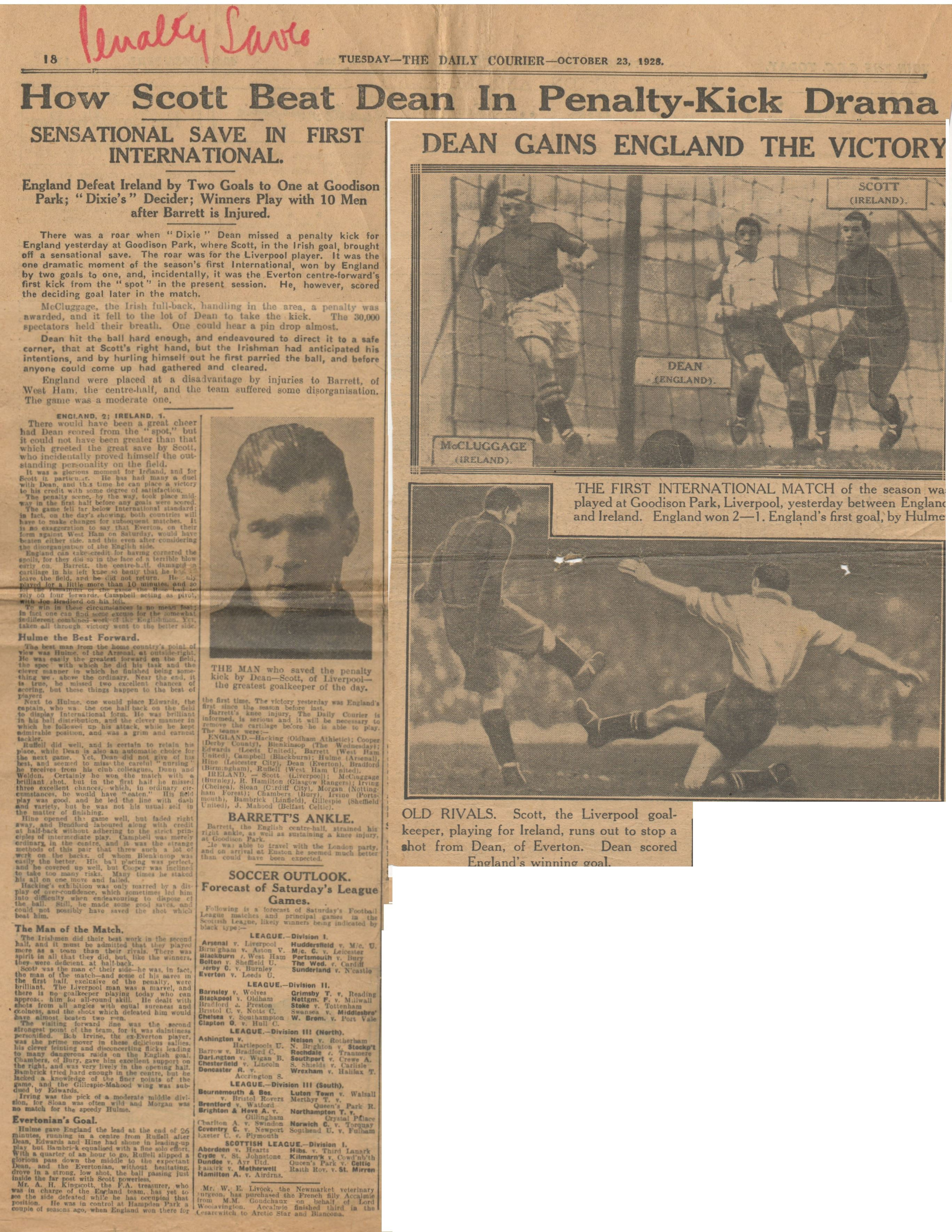 How Scott beat Dean in penalty-kick drama - 23 October 1928