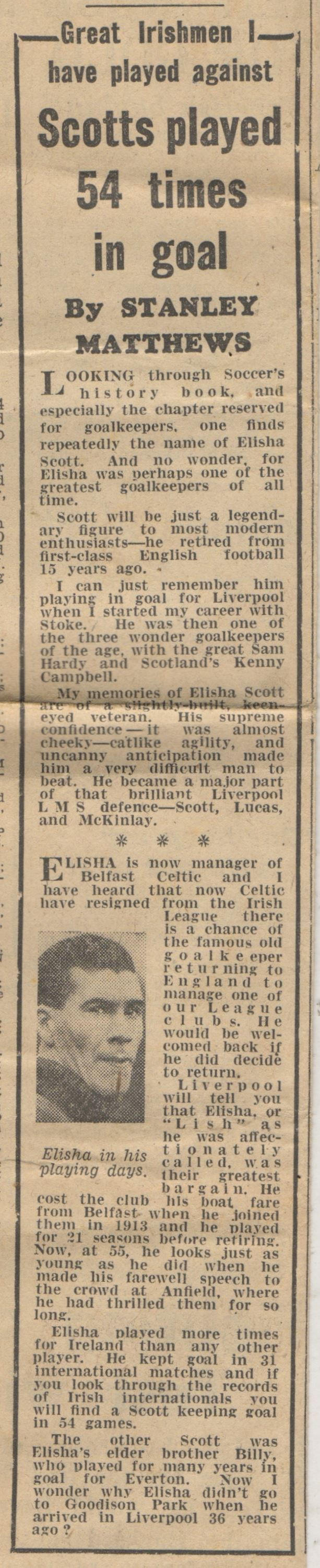 Great Irishmen I have played against, by Sir Stanley Matthews - 1949