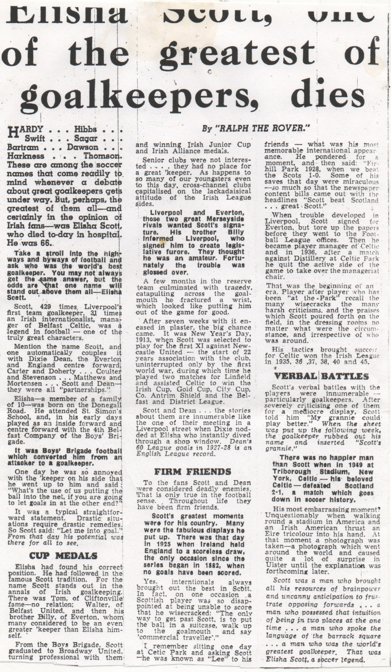 Elisha Scott's obituary - 16 May 1959