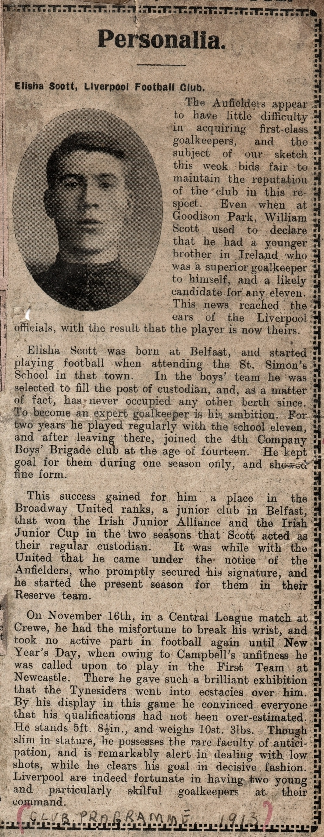 Scott's Personalia in Club programme 1913