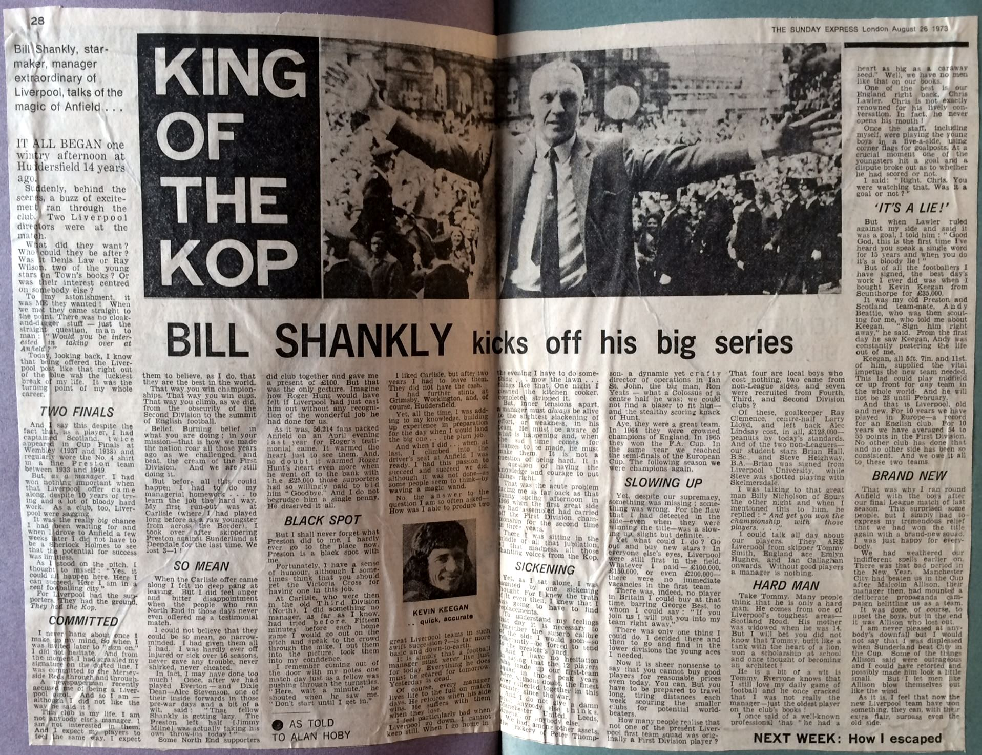Sunday Express series in 1973 - King of the Kop