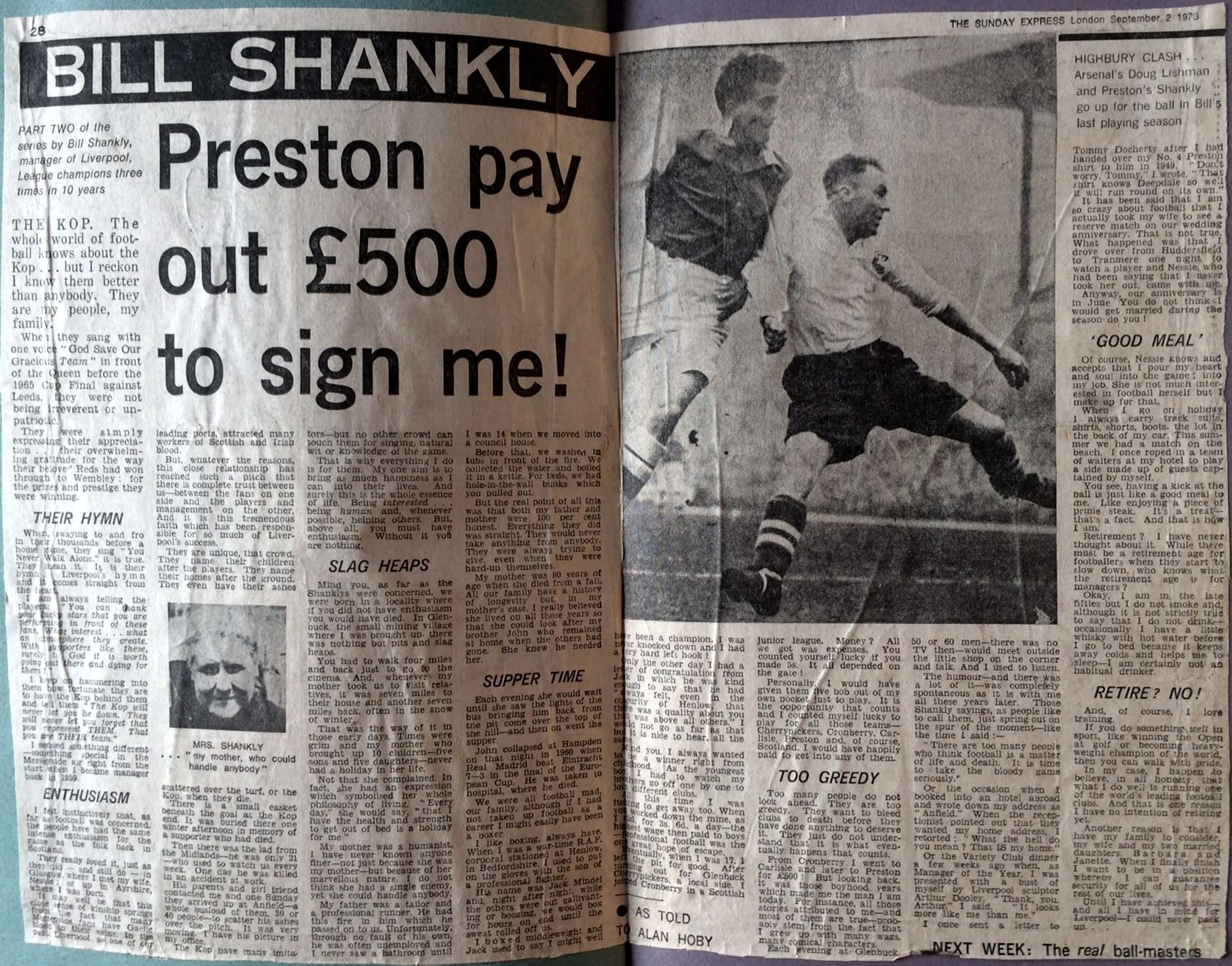 Sunday Express series in 1973 - Preston pay out 500 pounds to sign me!