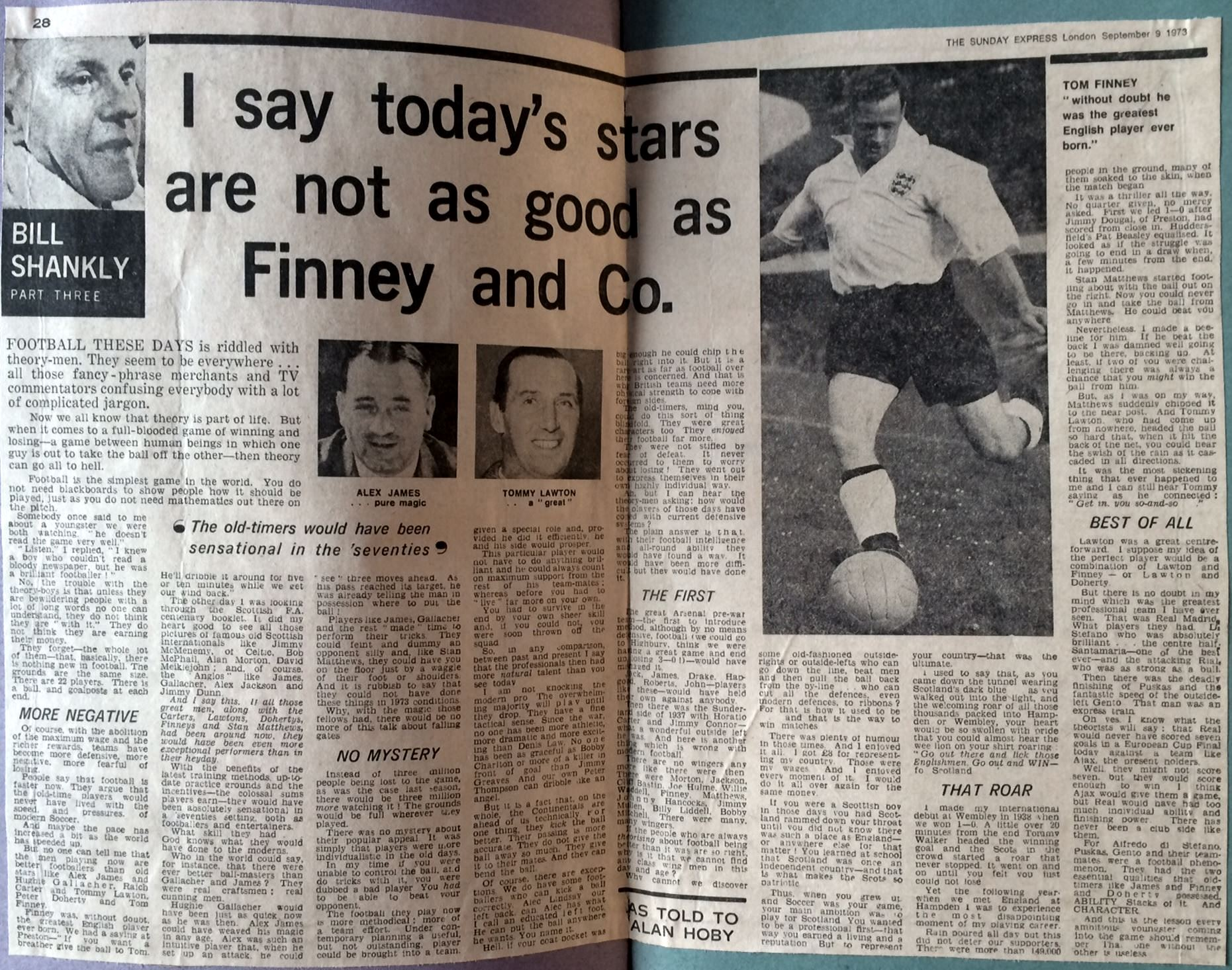Sunday Express series in 1973 - Today's stars not as good as Finney and co.