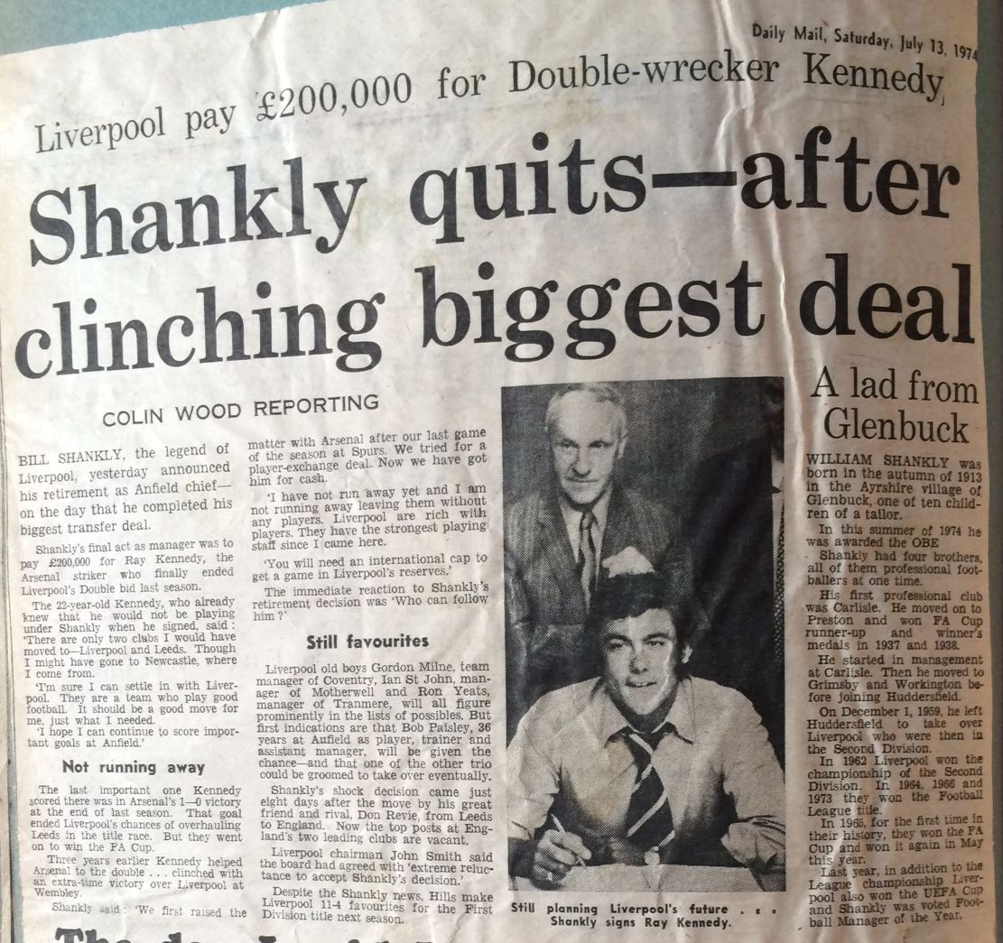 Shankly quits after clinching biggest deal - Daily Mail 13 July 1974