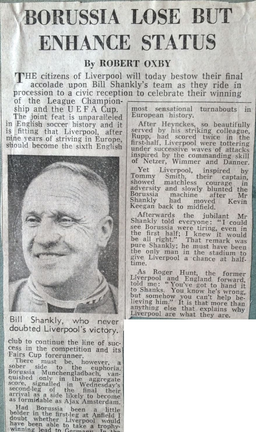 Shankly could see Gladbach were tiring in the UEFA Cup final second leg in 1973