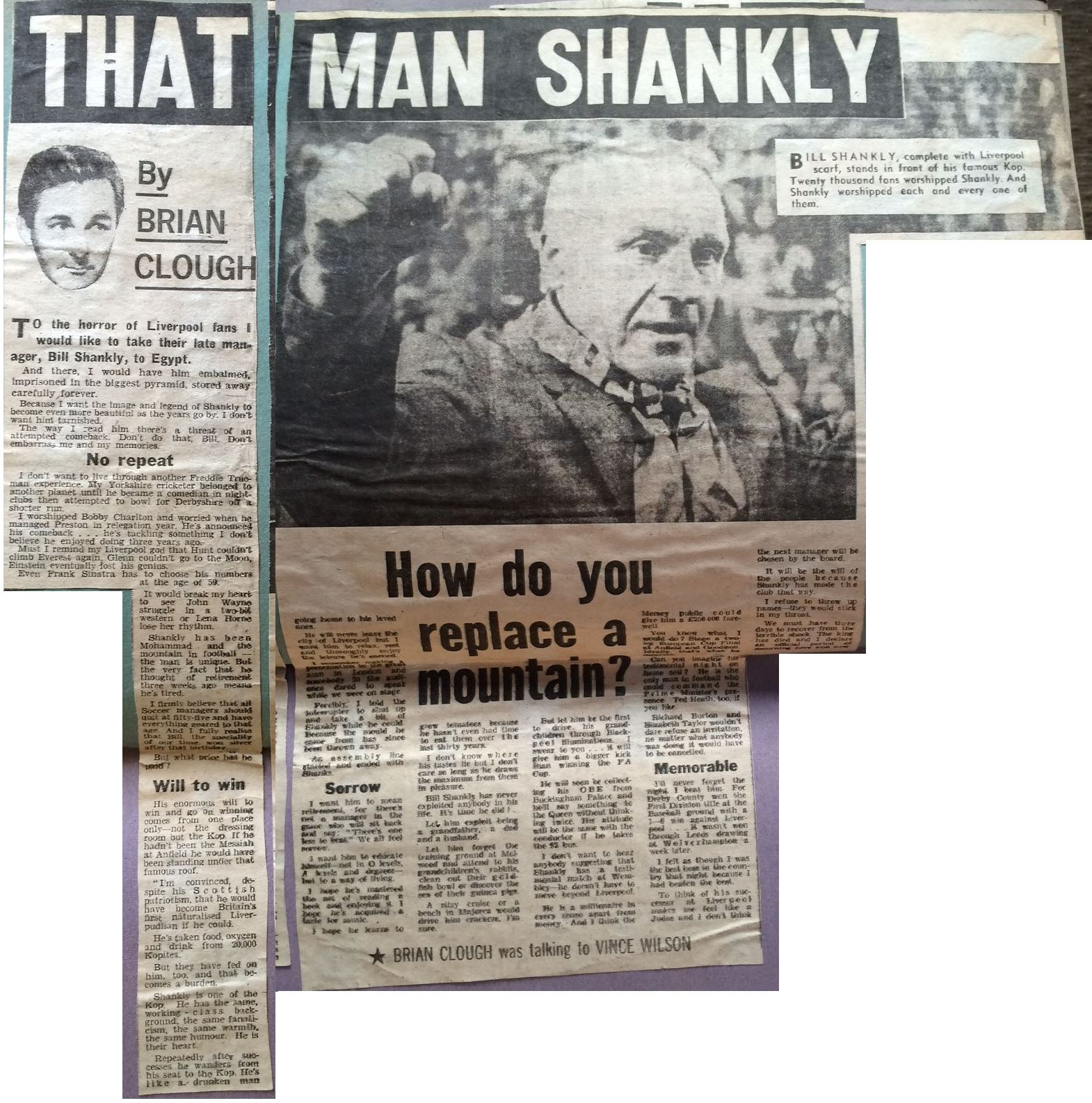 That man Shankly, by Brian Clough - July 1974