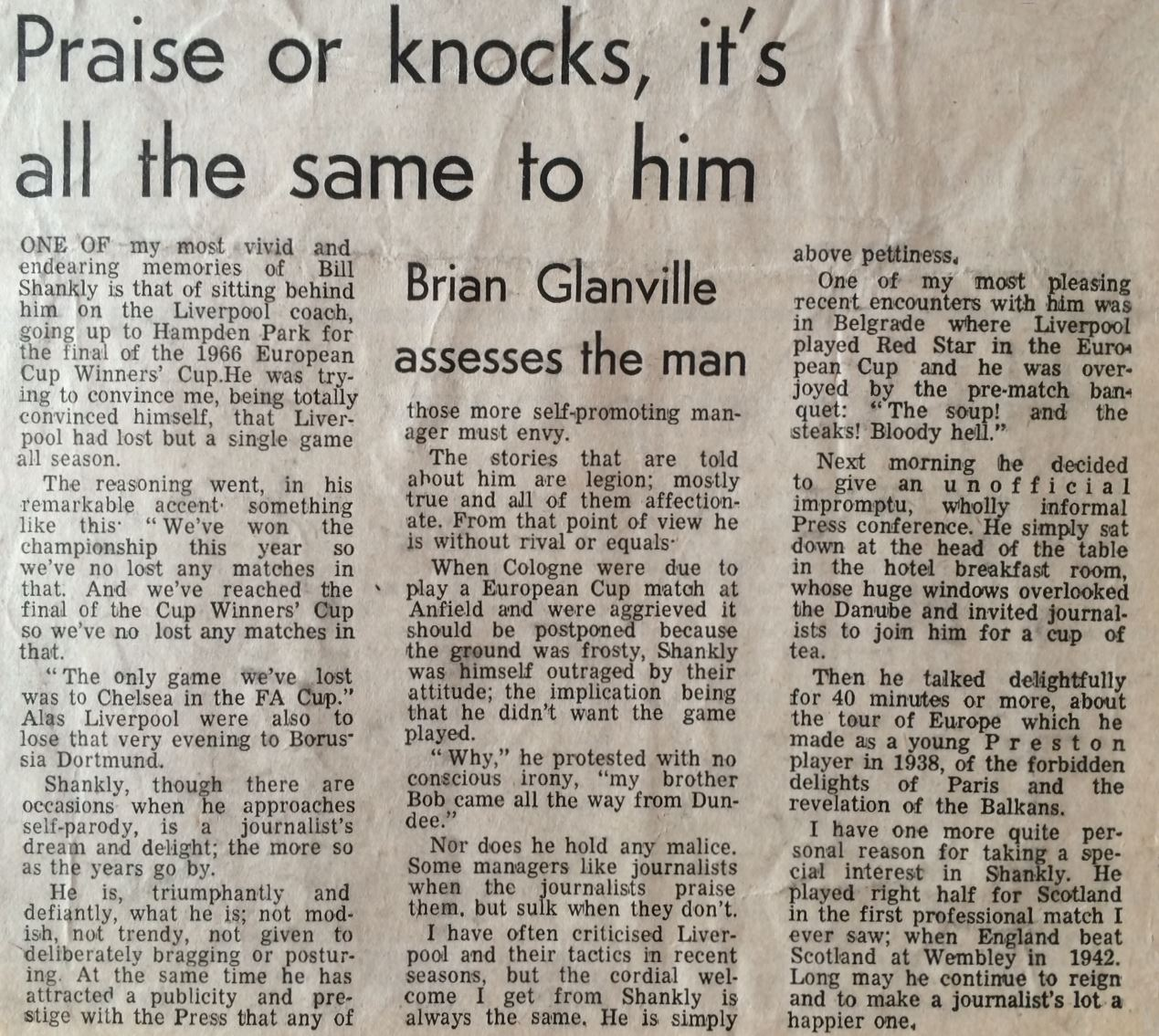Brian Glanville's memories of Shankly