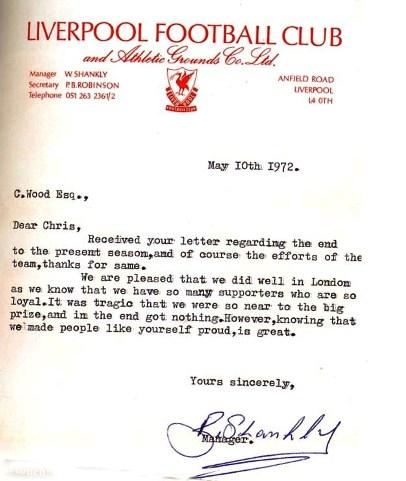 The letter from Shankly - LFChistory - Stats galore for Liverpool FC!