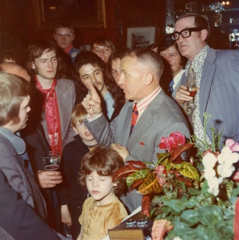 Shanks presented with a radio at the Vines pub in Lime Street. Photo courtesy of Karen Gill - Shankly's granddaughter