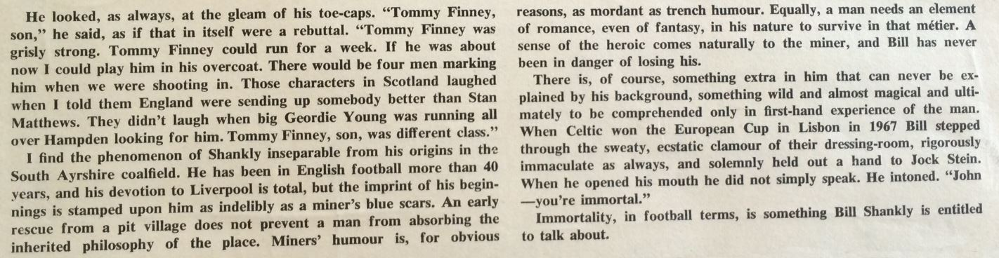 Shankly had the utmost respect for Tom Finney and Jock Stein