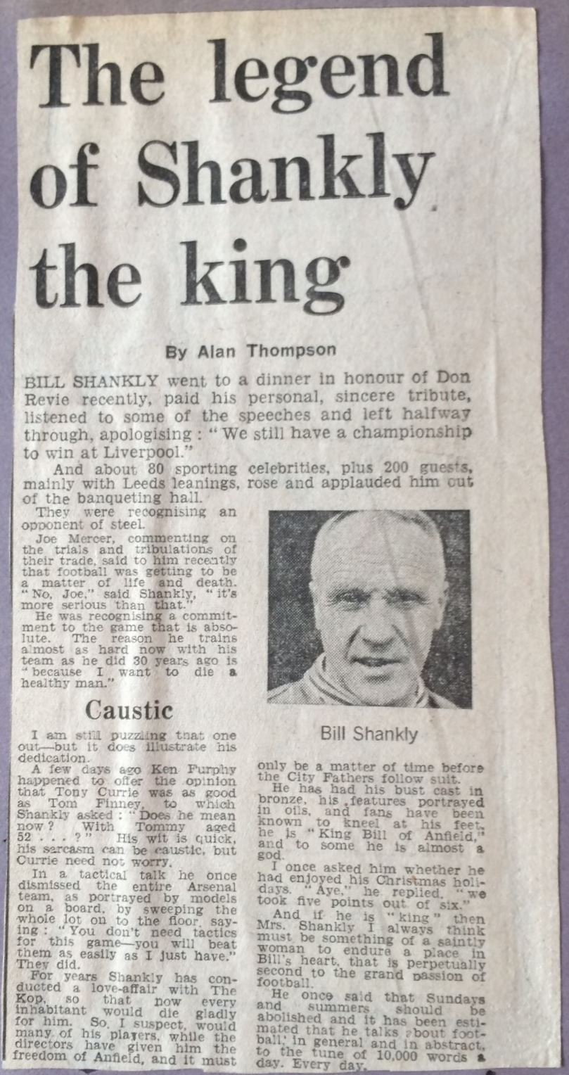 The legend of Shankly the king - 1974
