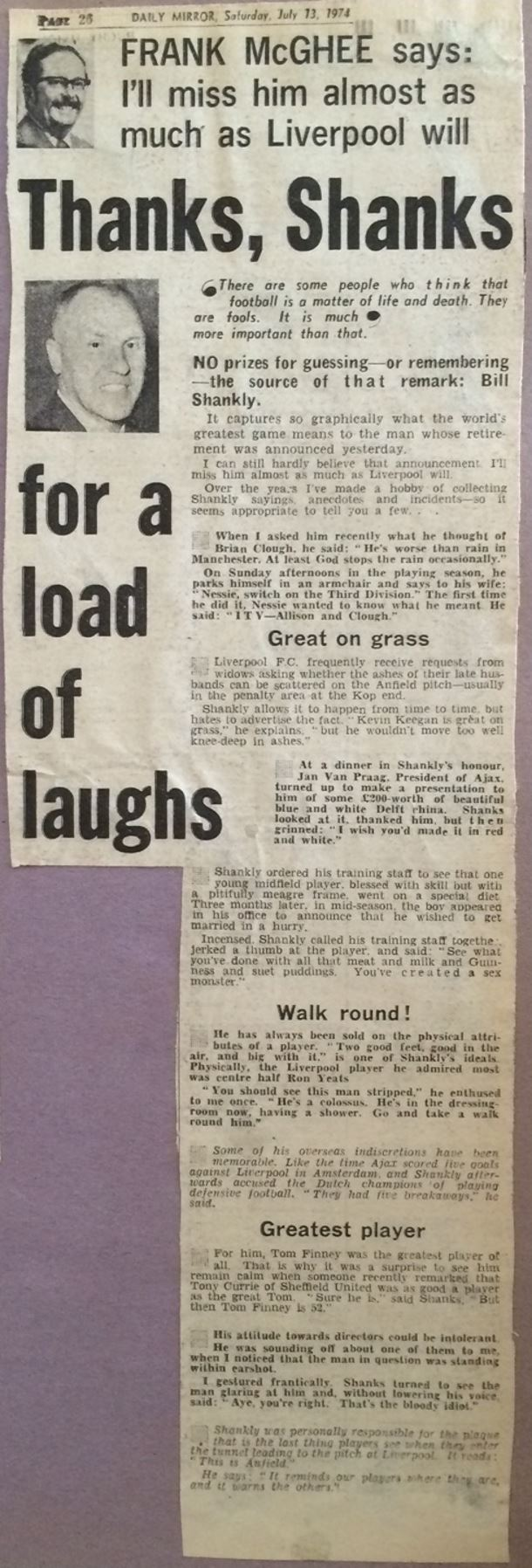 Thanks Shanks for a load of laughs - Daily Mirror 13 July 1974