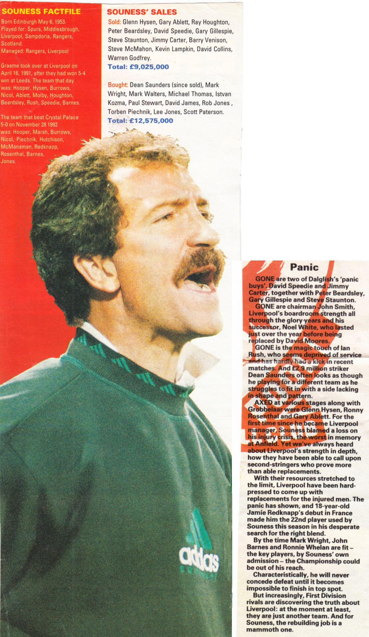 Souness' buys and sales - 1992