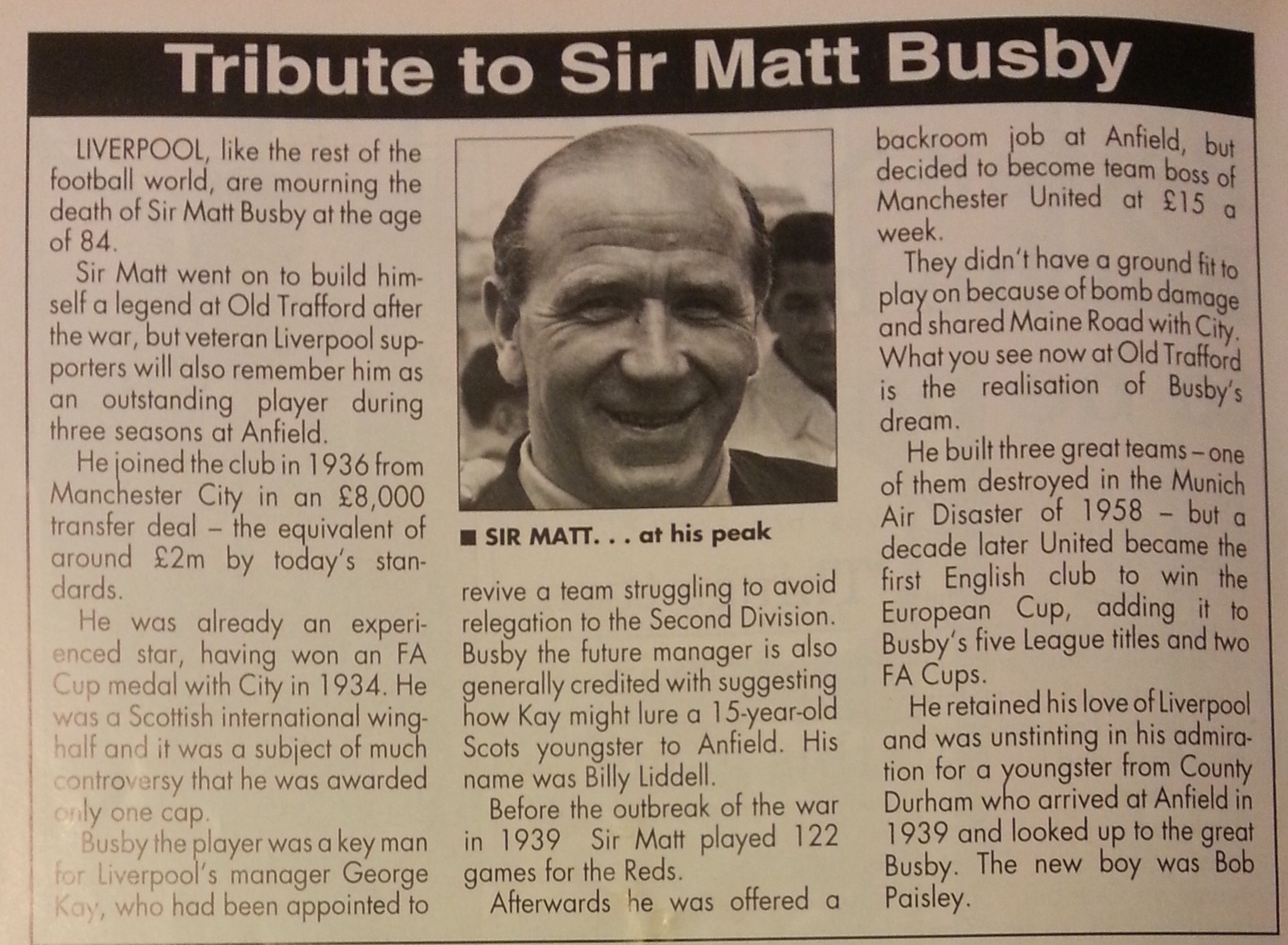 Obituary from match programme