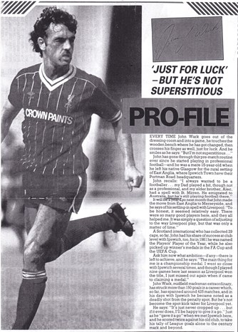 Just for luck, but he's not superstitious - John Wark Profile from LFC match programme